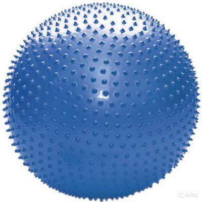 L 0575b_Мяч гимнастический с шипами для фитнеса 75см в коробке с насосом(синий) в упа